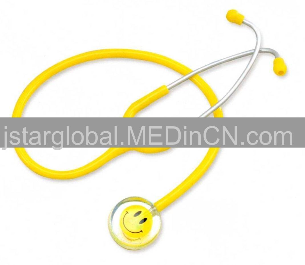 Yellow Smiley single-head stethoscope