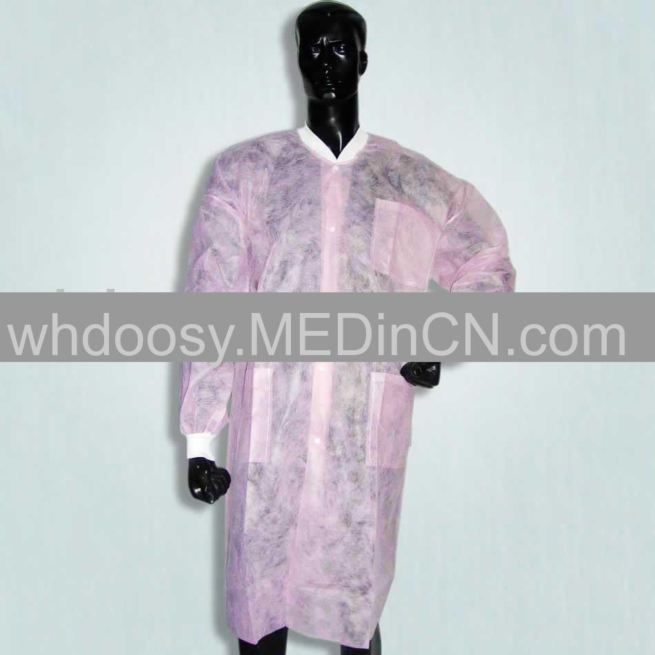 Pink Disposable Nonwoven Lab Coat Offered By Wuhan Doosy